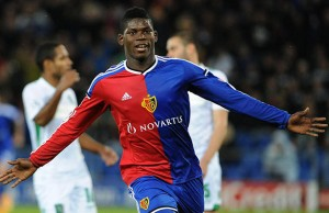 BASEL,SWITZERLAND,04.NOV.14 - SOCCER - UEFA Champions League, group stage, FC Basel vs PFC Ludogorets Razgrad. Image shows the rejoicing of Breel Embolo (Basel). Photo: GEPA pictures/ EQ Images / Melanie Duchene - ATTENTION - COPYRIGHT FOR AUSTRIAN CLIENTS ONLY